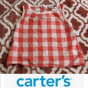 size 24M baby girls checked pink, white tank top